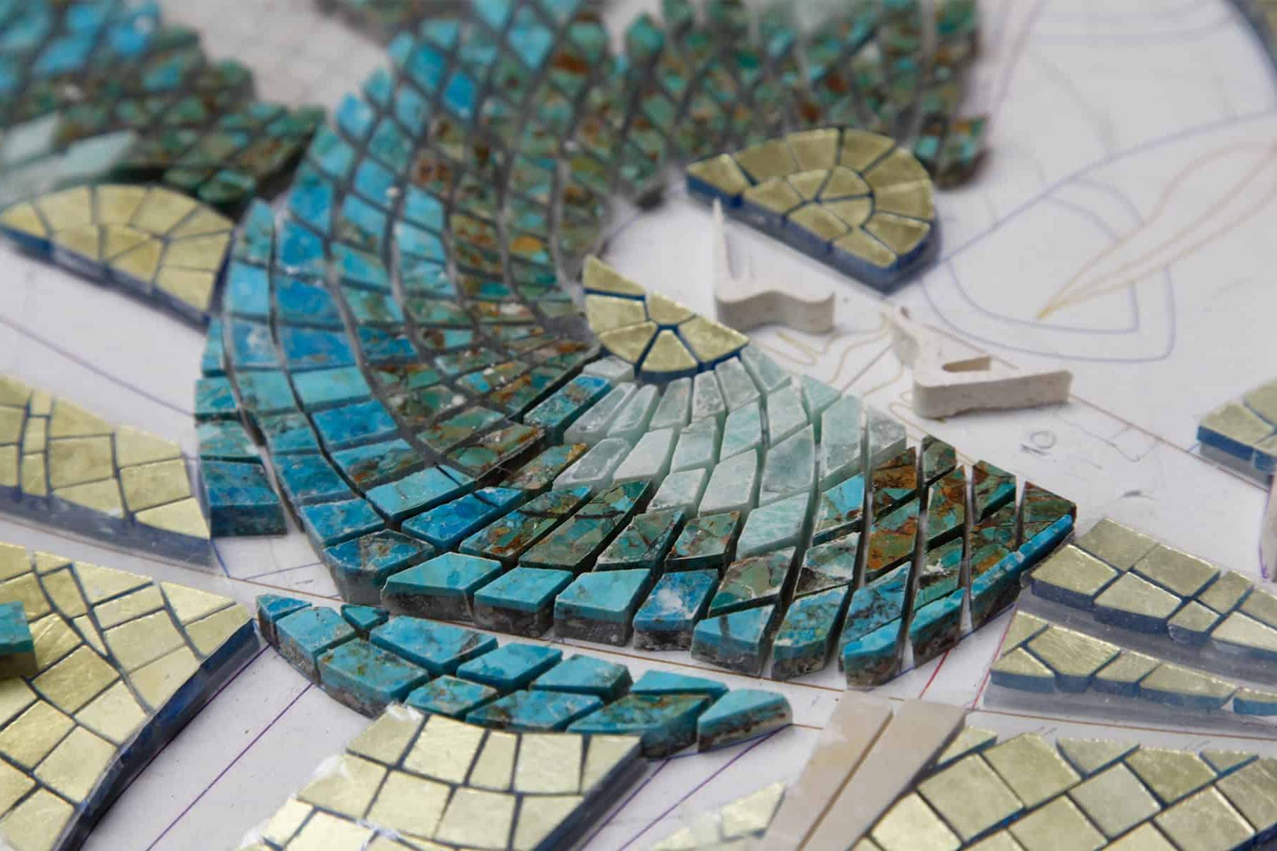 Hand-cut mosaic tiles